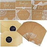 Dankeskarten,42 Stück Braune Papier Dankeskarte Grußkarten mit Umschläge und Aufkleber für Thanksgiving Day Hochzeit Brautparty Jahrestag Geschäft
