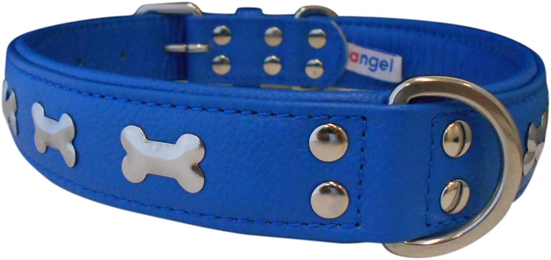Angel Pet Supplies 41317 Leather Bones Dog Collar, 26  X 1.25 , Cobalt bluee