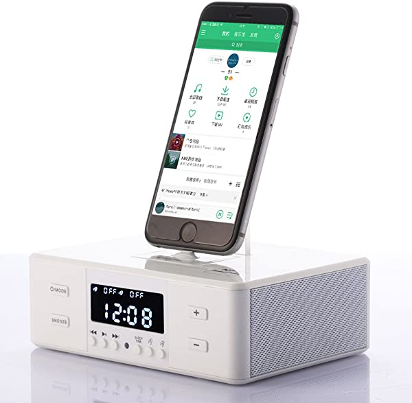 Type C Dock Station LCD Display Wireless NFC Bluetooth Stereo Speaker FM Radio Dual Alarm Clock Smart Charge With Remote Control DC In