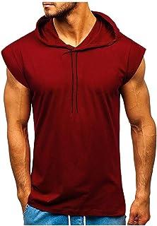 Camiseta Hombre Sin Mangas Gimnasio,Hombres Fitness MúSculo Color SóLido Sin Mangas Culturismo con Capucha Tops De Secado ...