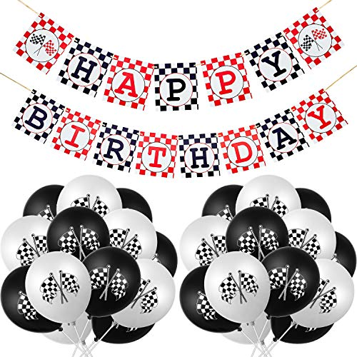 31 Pieces Race Car Party Decorations Set Including Race Car Happy Birthday Banner and Checkered Racing Car Balloons for Racing Car Theme Party Supplies