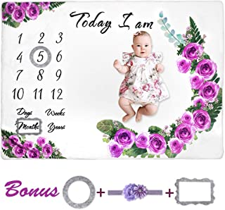 "Baby Monthly Milestone Blanket for Girls, Fleece Blankets Floral for Baby Pictures, Watch Me Grow Photography Background Days Weeks Months Years with Props for Newborn Infants Shower Gift (60"" x 40"")"