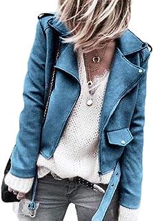Women's Sport Coat Oblique Zipper Lapel Sueded Jackets