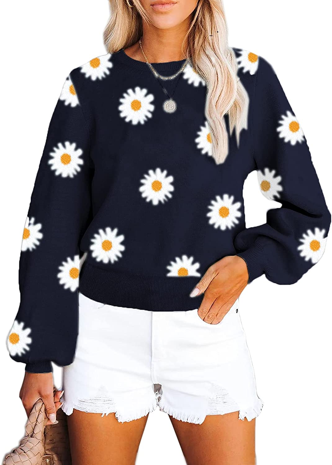 Dellytop Womens Daisy Knit Sweaters Crewneck Long Balloon Sleeve Casual Loose Solid Pullover Jumper Tops