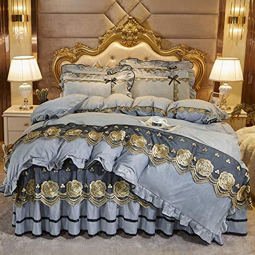 Juego de cuatro piezas de forro polar de coral estilo falda de cama, funda nórdica de doble cara más forro polar, colcha adecuada para doble king-light_gray_Bed_skirt: _150cm * 200cm (4 piezas)