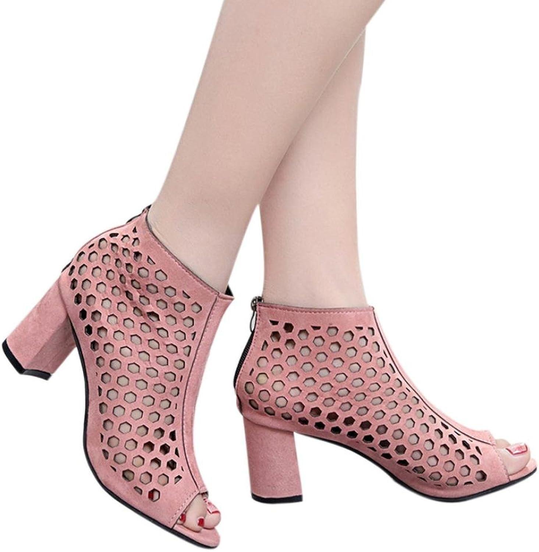 Fheaven Summer Wedge Sandals Heels Sandals Open Toe Hollow Out Platform shoes Zipper shoes