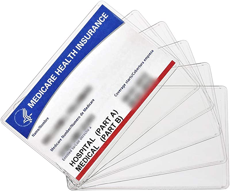 New Medicare Card Holder Protector Sleeves 12Mil Clear PVC Soft Waterproof Medicare Card Protector For New Medicare Card Credit Card Business Card Heavy Duty Card Sleeves 6 Pack