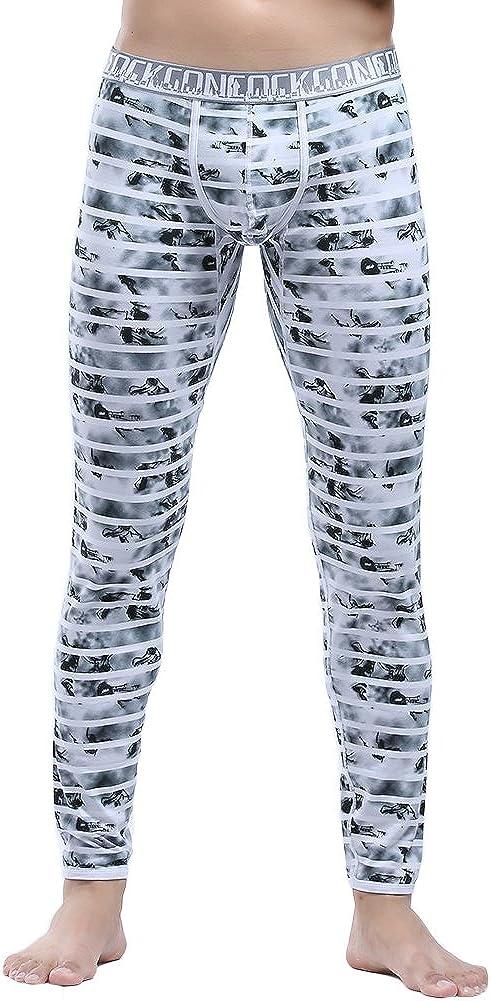 Bmeigo Mens Thermal Pants, Long Johns Bottoms Leggings Cotton Striped Underwear