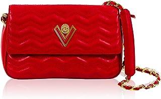 Valentino Orlandi Women's Small Handbag Foldover Clutch Italian Designer Purse Flame Scarlet Red Genuine Leather Tote Purse Crossbody Bag in Croc Wavy Design with Chain Strap