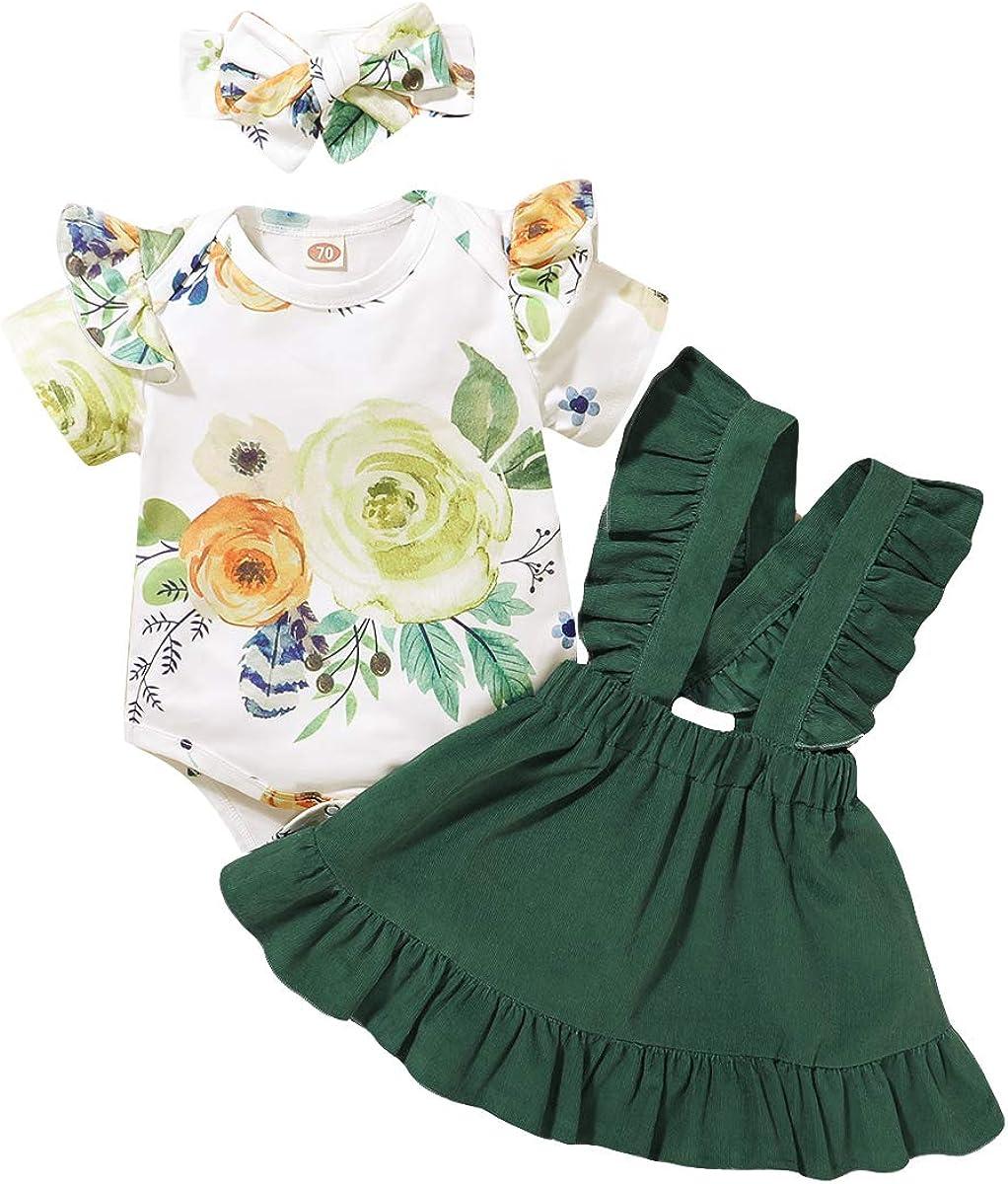 Toddler Baby Girl Suspender Skirt Sets Newborn Floral Ruffle Short Sleeve Romper Headband 3pcs Summer Clothes Outfits