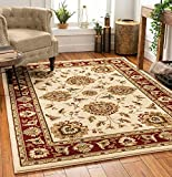 Sultan Sarouk Ivory Persian Floral Oriental Formal Traditional 8x11 8x10 (7'10' x 10'6' Area Rug Easy to Clean Stain / Fade Resistant Shed Free Contemporary Thick Soft Plush Living Dining Room Rug