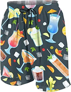 Men's Swim Trunks Tropical Alcohol Cocktails Printed Beach Board Shorts with Pockets Cool Novelty Bathing Suits for Teen Boys