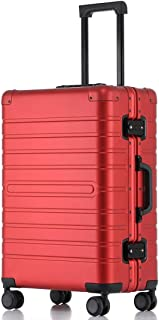 SRY-Luggage Aluminum Alloy Trolley Case Female Boarding Abroad Suitcase Male Suitcase, 20, 24inch Durable Carry on Luggage (Color : Red, Size : 24inch)