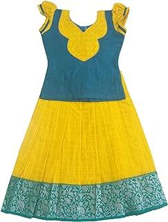 Pattu Pavadai Baby Girls Silk Skirt and Blouse (Blue and Yellow)