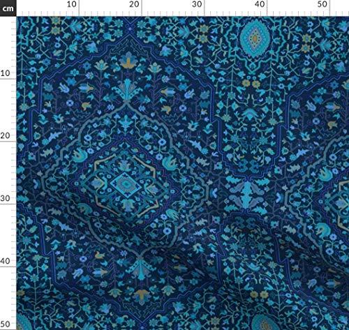 blau, retro, viktorianisch, indigo, Jugendstil, Damast, islamisch, persisch Stoffe - Individuell Bedruckt von Spoonflower - Design von Muhlenkott Gedruckt auf Bio Baumwollsatin