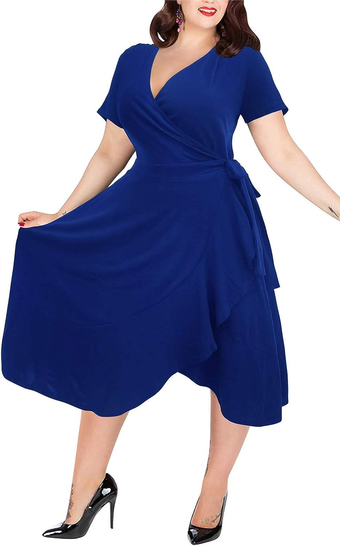 Nemidor Women's Short Sleeve V-Neck Plus Size Wrap Dress Casual Ruffle Swing Dress NEM233