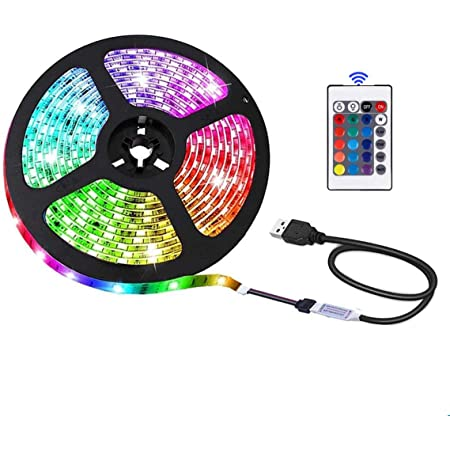 Bande LED USB pour rétroéclairage TV, décoration d'intérieur, 16 couleurs, télécommande 24 touches, sécurité 5 V et tactile (2 m)
