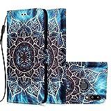 Miagon per Samsung Galaxy A10S Cover,PU Custodia Portafoglio Protettiva in Pelle Slot Portafoglio Flip Dell'ente Completo Slim Fit Cover,Mandala Fiore