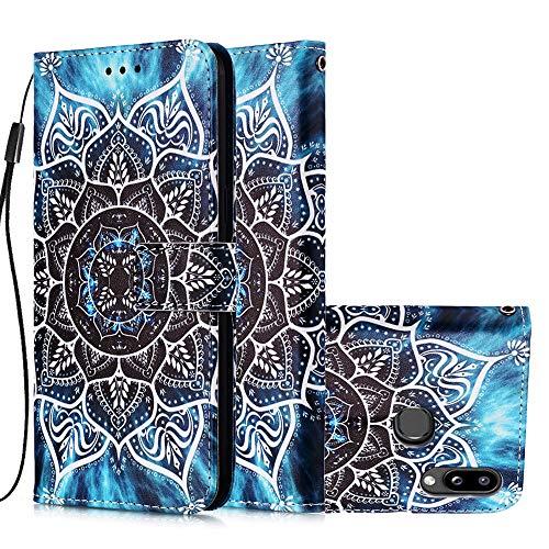 Miagon für Samsung Galaxy A10S Leder Hülle,Klapphülle mit Kartenfach Brieftasche Lederhülle Stossfest Handy Hülle Klappbar,Mandala Blume