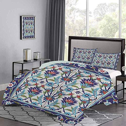 Juego de colchas para niños de Azulejos de Mosaico con Adornos inspirados en la Naturaleza Tulipanes y Margaritas con Estampado de rizos Ropa de Cama cómoda Transpirable y cómoda Multicolor