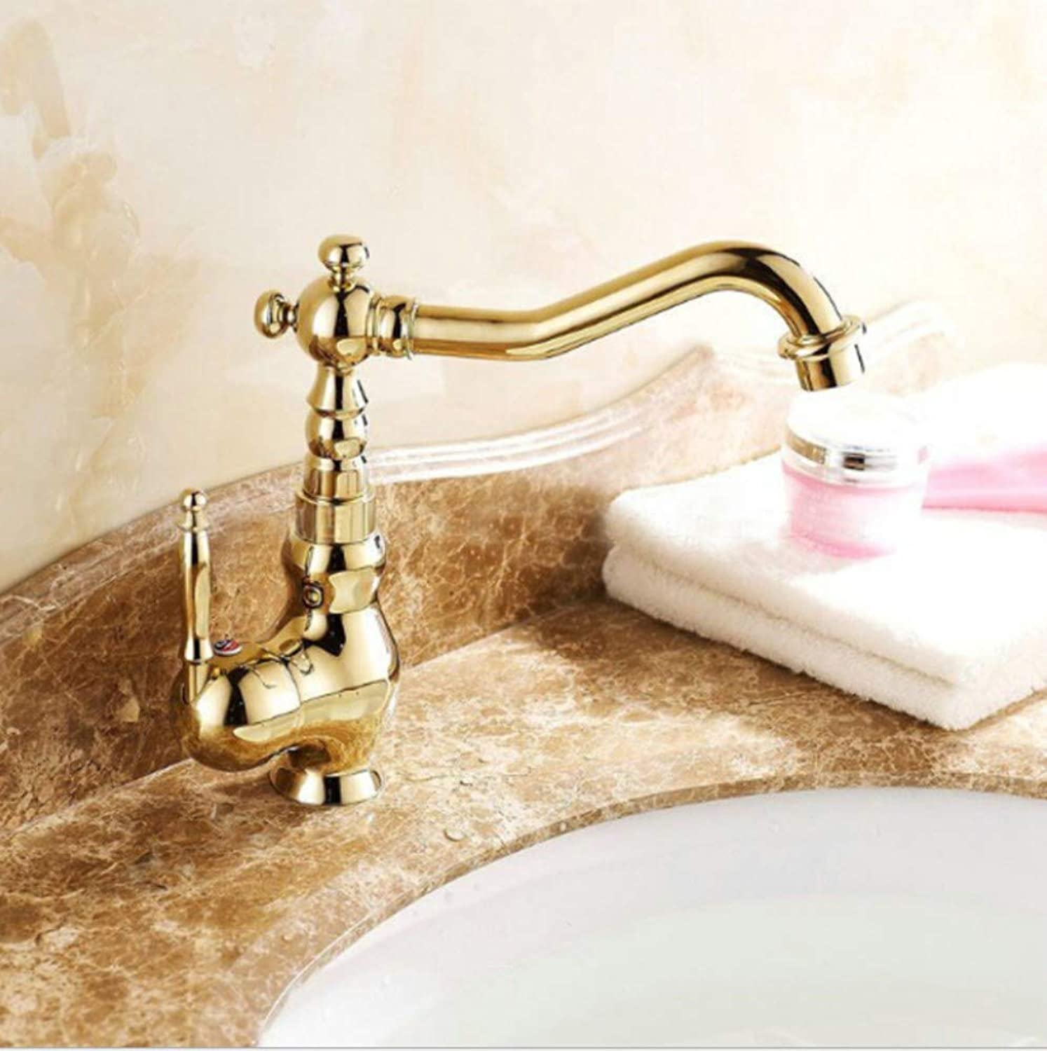 Bathroom Sink Basin Lever Mixer Tap Brass-Plated gold Basin, Hot and Cold Water Faucet, Basin, Basin, Basin, redary Mixing Faucet, Single Hole
