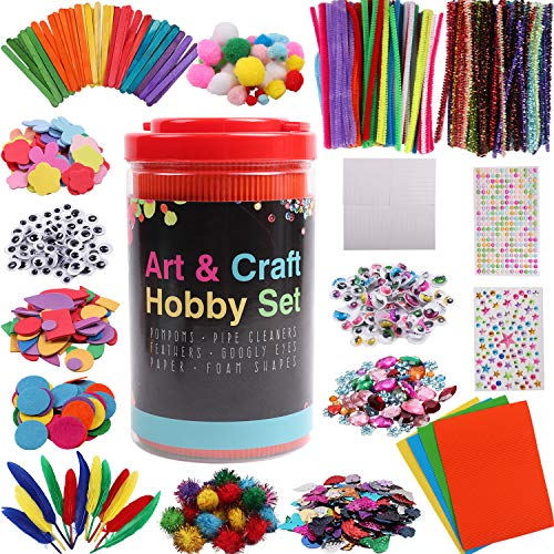 ABirdon Kids Arts and Crafts Supplies, All in One DIY Craft Kit Including Pipe Cleaners, Pom Poms, Googly Eyes, Feathers, Sticks and Gemstones etc for Toddlers Age 4 5 6 7 8 9