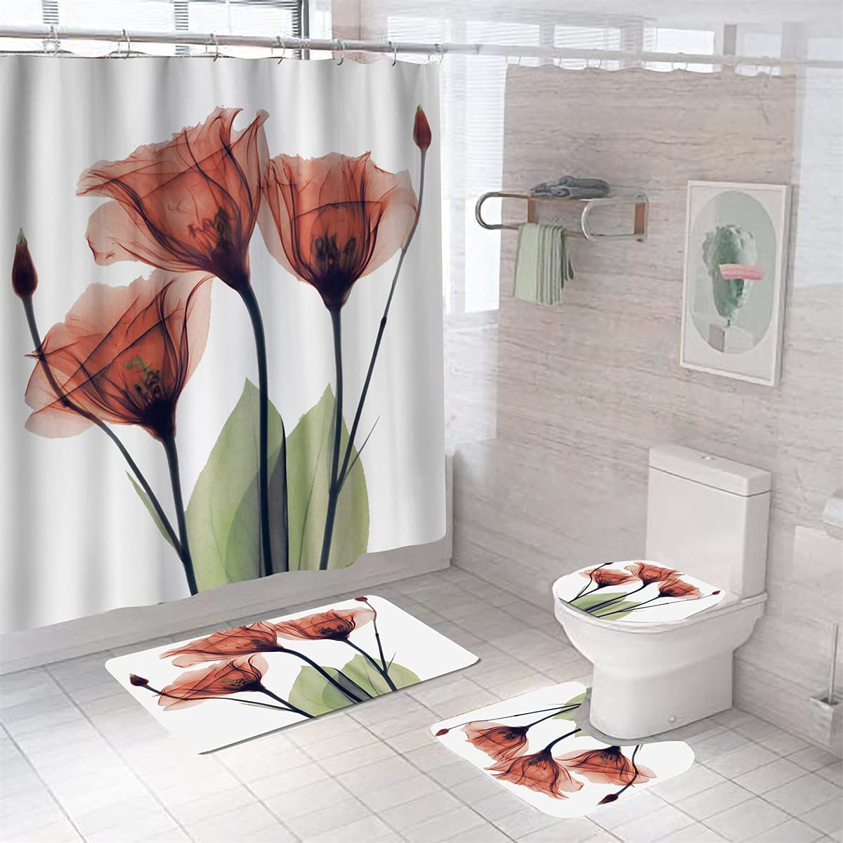 MrLYouth Botanical Max 76% OFF SALENEW very popular! Rust Red Tulip with Shower Non-S Sets Curtain