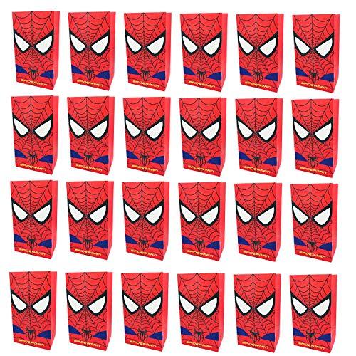KRUCE Paquete de 24 Bolsas de Fiesta Spiderman Bolsas de Regalos para niños Fiesta temática de superhéroes