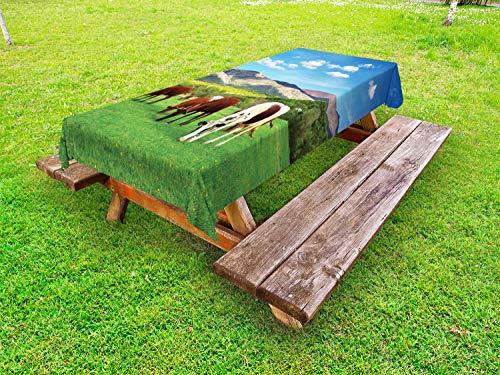 ABAKUHAUS Das Vieh Outdoor-Tischdecke, Kuh, Natur, Komposition, dekorative waschbare Picknick-Tischdecke, 145 x 265 cm, Mehrfarbig