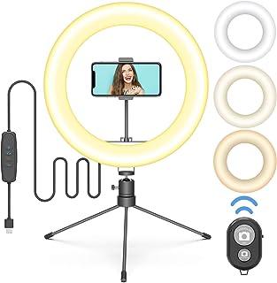 GooDee LEDリングライト 10インチ 自撮りライト 3色モード付き 高輝度LED 10段階調光 撮影照明用ライト USB給電 卓上ライト Bluetoothリモコン/三脚スタンド付き 美容化粧/YouTube生放送/自撮り/ビデオカメラ撮影用