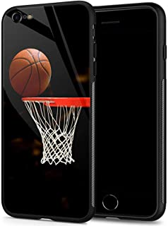 iPhone 6s Plus Case,9H Tempered Glass iPhone 6 Plus Cases for Men Boys,Funny Basketball Pattern Design Printing Shockproof Anti-Scratch Case for Apple iPhone 6/6s Plus 5.5 inch Basketball