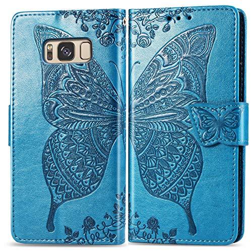 Hülle für Galaxy S8 Handyhülle Schutzhülle Leder PU Wallet Bumper Lederhülle Ledertasche Klapphülle Klappbar Magnetisch für Samsung Galaxy S8/G950F - ZISD020427 Blau