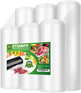 Premium!! ATSAMFR 6 Pack 8x20'(3Rolls) and 11x20' (3Rolls) Vacuum Sealer Food Saver Bags Rolls with BPA Free,Heavy Duty,Great for Vac storage or Sous Vide Cooking