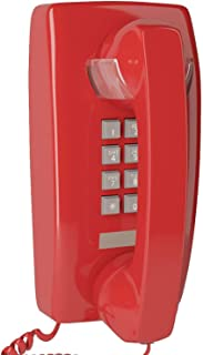 Home Intuition Home Intuition Single Line Wall Mounted Corded Telephone with Extra Loud Ringer, Red