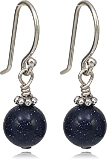 Faceted Blue Goldstone Gemstone /& Sterling Silver Drop Earrings with Gift Box