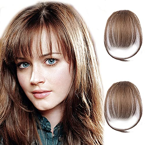 CAUGHTOO Bangs Hair Clip in Bangs Medium Brown Human Hair Bangs with Temple Wispy Bangs Hairpieces for Women Clip on Air Bangs Fringe Faker Bangs for Party and Daily Wear (Medium Brown)