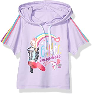 JoJo Siwa Girls Glitter Everywhere Pull Over Skimmer Hoodie Tee with Taping Short Sleeve Hooded Sweatshirt - Purple