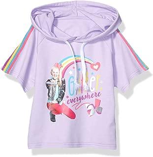 JoJo Siwa Girls Glitter Everywhere Pull Over Skimmer Hoodie Tee with Taping Short Sleeve Hooded Sweatshirt - Purple