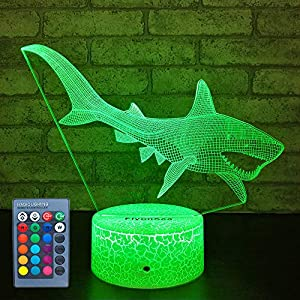 FlyonSea Baby Shark Toys Nightlight,Baby Shark Party Supplies 16 Color Changing Kids Night Light with Touch and Remote Control, Kids Shark Decor Lamp Birthday Christmas Gifts for Kids Boys Baby