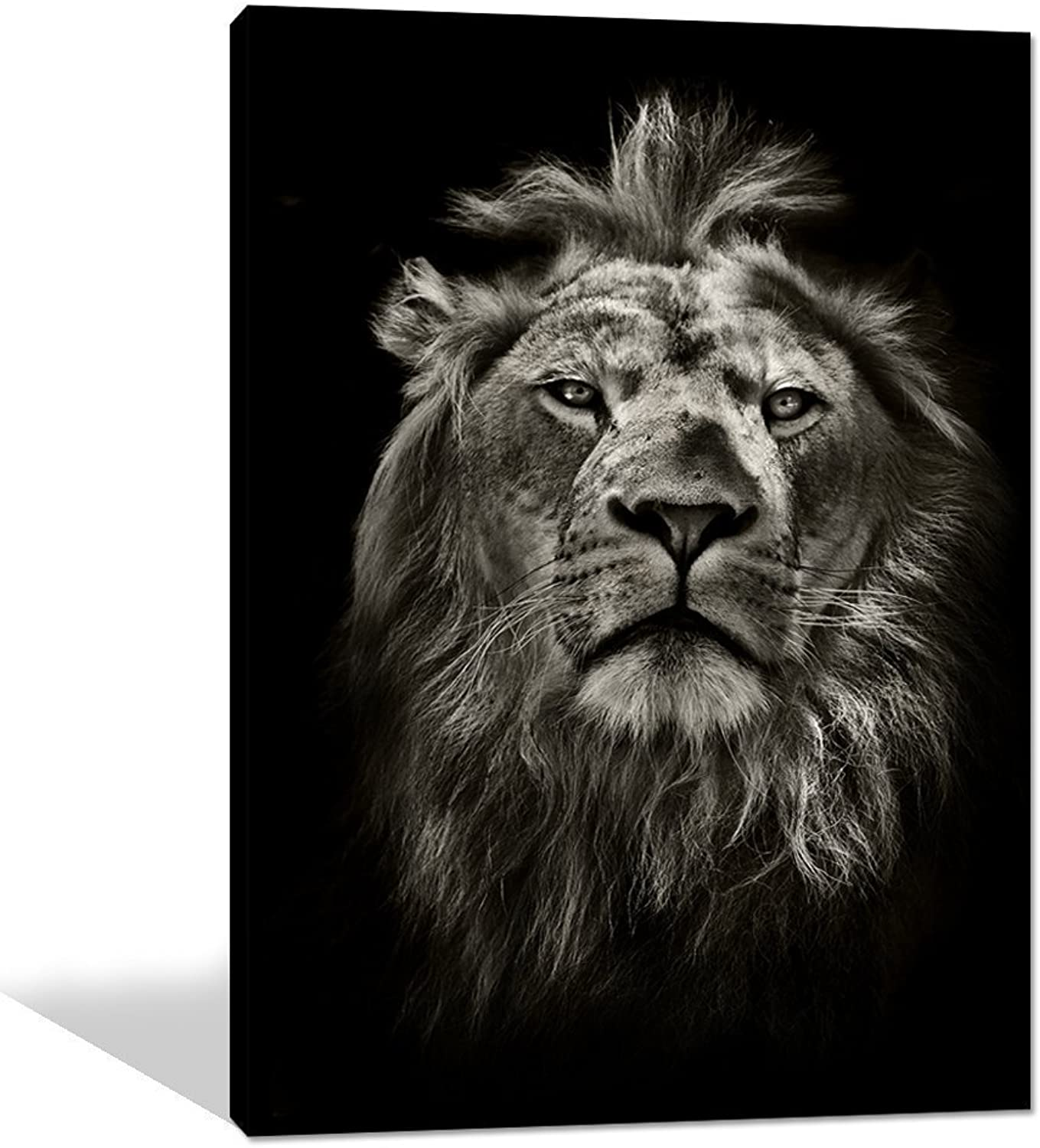 Yatsen Bridge Global Artwork Printed Posters and Prints Black White Animal Lion Picture Wall Art on Canvas for Living Room Home Decor Stretched Ready to Hang (24 x 32 Inch)