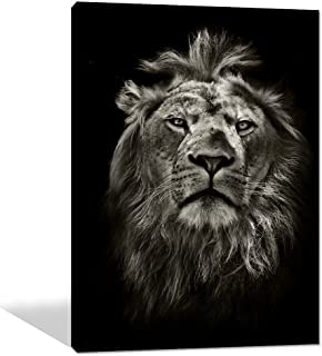 Yatsen Bridge Canvas Wall Art Black White Animal Lion Picture Printed Posters and Prints on Canvas Wall Decorations for Living Room Home Decor Stretched Ready to Hang (20 x 24 Inch)