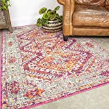 Traditional Aztec Pink Rug Distressed Vintage Orange Bohemian Living Room Area Bedroom Rugs 160cm x 230cm