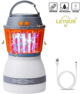 LETOUR Mosquito Zapper Outdoor Lantern LETOUR 4 Modes Dimmable Portable Light Quiet Efficient Mosquito Killer Washable Wat...