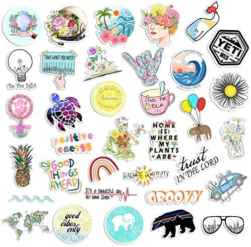 35 Cute Vsco Aesthetic Stickers Lovely Trendy Positive Good Vibes Flowers Sticker for Laptop product image