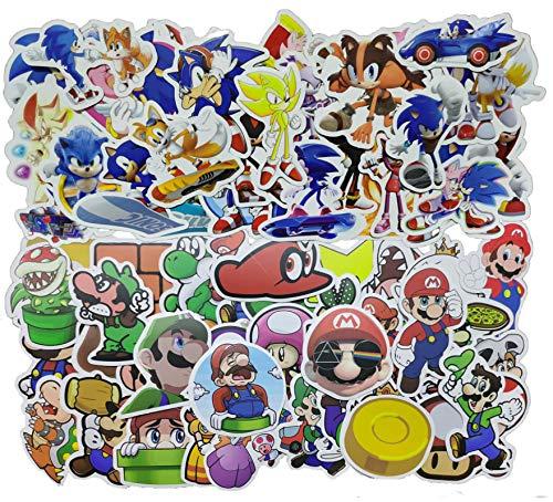 Pegatina Sonic Super Mario 100 unids/pack Anime pegatina juego Mario pegatina de dibujos animados maleta impermeable DIY portátil guitarra Skate coche niños pegatinas juguete