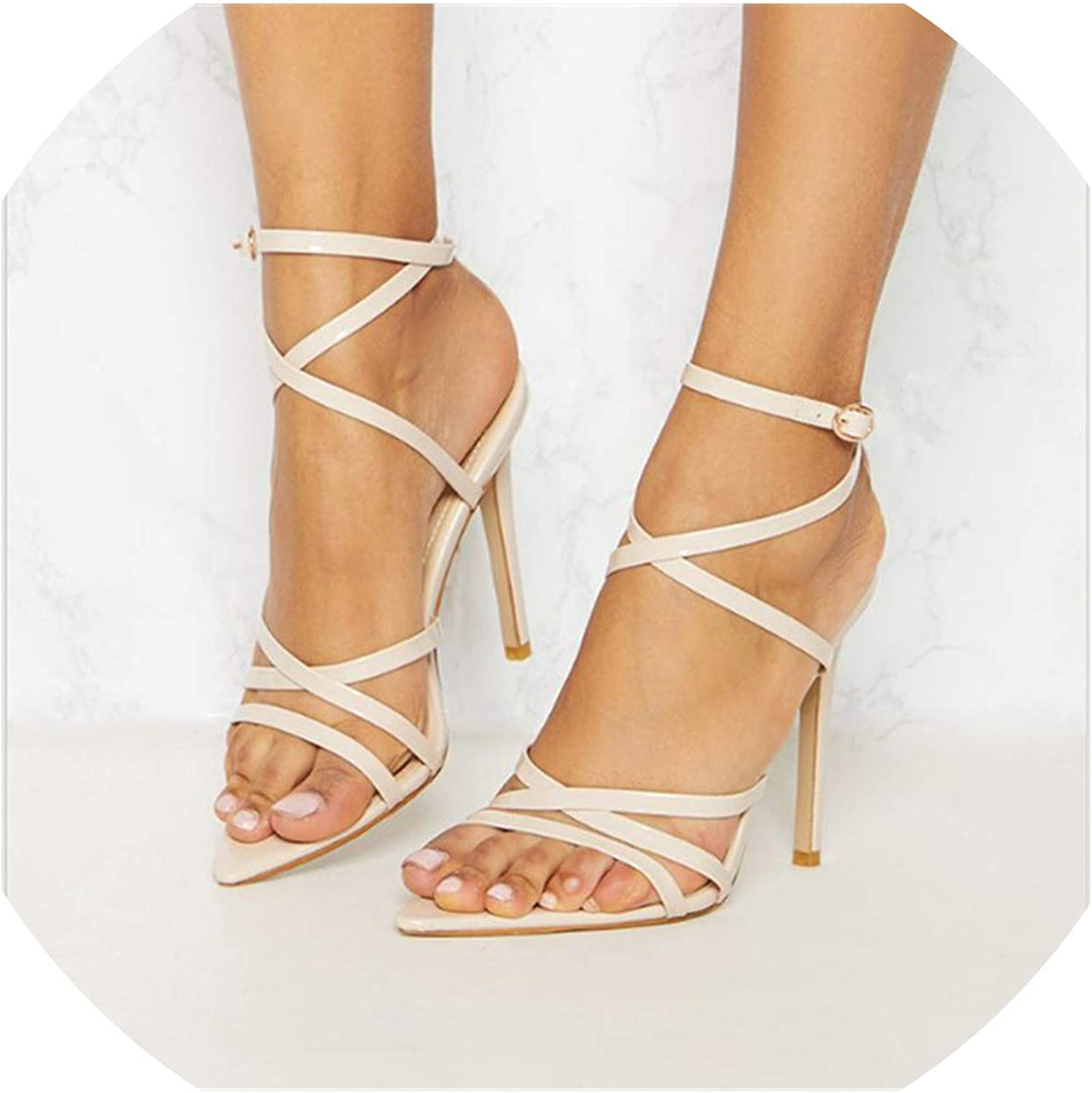 Sandals Women Buckle high Heels shoes Ladies Prom Wedding shoes Woman Summer shoes
