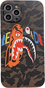 Bape Shark Camo iPhone Case A Bathing Ape Tup Protective Drop Protection Case Fits for iPhone 12Pro Max,12Pro,12,11Pro,11,Xs Max,Xs,X,8P,8,7P,7,6P,6 for Men Boys Women (Shark Camo,iPhone 12 Pro Max)