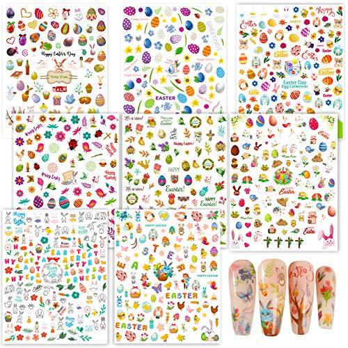 FLOFIA 8 Blatt Nagelsticker Ostern Selbstklebend Nagelaufkleber Ostern Nail Art Tipp Sticker Decals DIY Dekoration für Damen Mädchen Fingernägel Tattoo