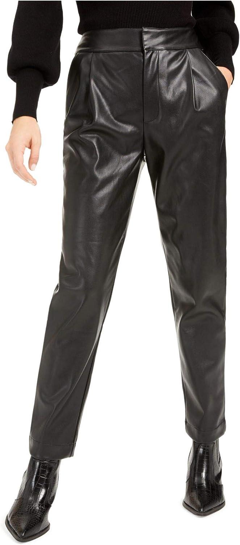 bar III オープニング 大放出セール Womens Pleather Pleated Straight Pants 超定番 Front Leg