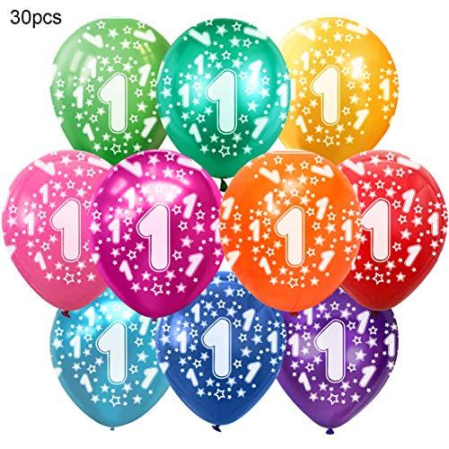 Bluelves Kunterbunte Luftballons 1 Jahre Metallic 30pcs Deko zum 1. Geburtstag Junge Mädchen, Jubiläum Hochzeit Party Kindergeburtstag Happy Birthday Dekoration Zahl 1